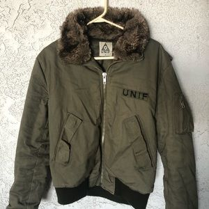 UNIF Faux Fur Collared Bomber